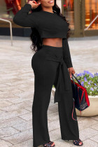 Black Fashion Casual Solid Bandage O Neck Long Sleeve Two Pieces