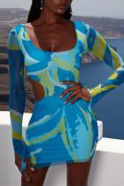 Blue Sexy Print Hollowed Out Split Joint U Neck Pencil Skirt Dresses