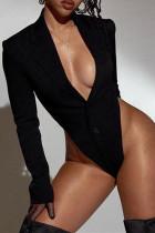 Black Sexy Casual Solid Split Joint Turndown Collar Regular Romper