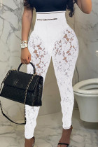White Fashion Sexy Patchwork See-through Letter Skinny High Waist Pencil Trousers