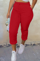 Red Casual Solid Split Joint Harlan Mid Waist Harlan Solid Color Bottoms