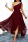Burgundy Casual Solid Mesh One Shoulder Cake Skirt Dresses
