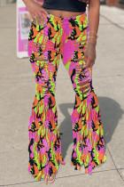 Pink Fashion Street Patchwork Ripped High Waist Denim Jeans
