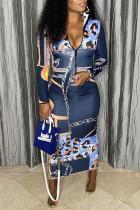 Deep Blue Sexy Casual Print Basic Zipper Collar Long Sleeve Dresses