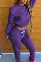 Purple Casual Solid Split Joint O Neck Long Sleeve Two Pieces