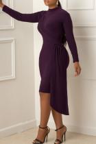Purple Fashion Elegant Solid Split Joint O Neck Dresses