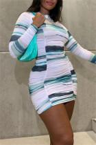 Blue Fashion Casual Print Fold O Neck Long Sleeve Dresses