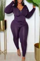 Purple Fashion Sportswear Solid Split Joint Hooded Collar Plus Size Two Pieces