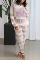 Purple Fashion Casual Print Hollowed Out O Neck Long Sleeve Two Pieces