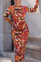 Colour Sexy Print High Opening O Neck Pencil Skirt Dresses