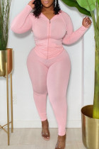Pink Fashion Sportswear Solid Split Joint Hooded Collar Plus Size Two Pieces
