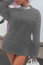 Grey Fashion Casual Letter Print Basic Turtleneck Long Sleeve Dresses