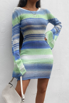 Blue Casual Striped Split Joint O Neck Pencil Skirt Dresses
