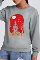 Grey Street Party Print Split Joint O Neck Tops