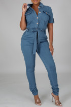 Baby Blue Fashion Casual Solid With Belt Turndown Collar Regular Jumpsuits