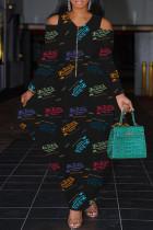 Black Fashion Casual Print Split Joint Zipper V Neck Long Sleeve Dresses