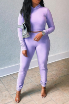 Purple Sexy Solid Split Joint Hooded Collar Long Sleeve Two Pieces