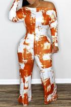 Orange Fashion Casual Print Backless Off the Shoulder Regular Jumpsuits