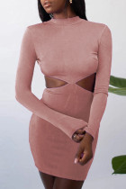 Pink Fashion Sexy Solid Hollowed Out O Neck One Step Skirt Dresses