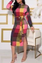 Colour Casual Plaid Print Split Joint With Belt Half A Turtleneck Long Sleeve Dresses