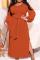Tangerine Red Casual Solid Bandage Slit O Neck Pencil Skirt Dresses