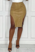 Khaki Sexy Casual Solid Asymmetrical Skinny High Waist Skirt