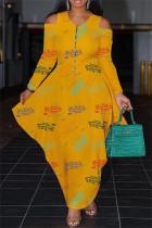 Yellow Fashion Casual Print Split Joint Zipper V Neck Long Sleeve Dresses