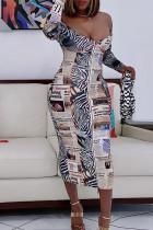 White Fashion Sexy Print Backless V Neck Long Sleeve Dresses pre-sale