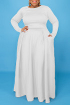 White Fashion Casual Solid Split Joint O Neck Plus Size Two Pieces