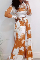 Orange Fashion Casual Print Split Joint O Neck Long Sleeve Two Pieces