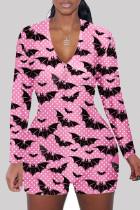Pink Fashion Adult Living Print Split Joint V Neck Skinny Jumpsuits