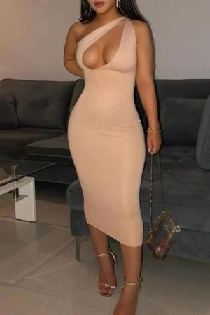 Apricot Fashion Street Solid Split Joint One Shoulder One Step Skirt Dresses