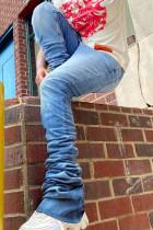 Sky Blue Fashion Street Solid High Waist Denim Jeans