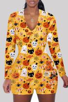 Yellow Fashion Adult Living Print Split Joint V Neck Skinny Jumpsuits