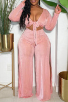 Pink Fashion Casual Solid Slit V Neck Long Sleeve Two Pieces