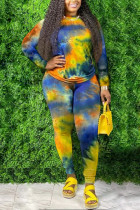 Blue Lightly cooked O Neck Print Plus Size