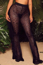 Black Fashion Sexy Patchwork See-through Regular High Waist Wide Leg Trousers