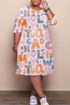 Light Pink Fashion Casual Letter Print Basic O Neck Long Sleeve Plus Size Dresses