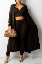 Dark Brown Fashion Sexy Solid Split Joint V Neck Long Sleeve Three Pieces