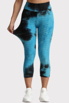 Blue Black Casual Sportswear Tie Dye Printing High Waist Skinny Trousers