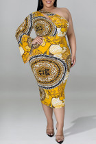 Gold Fashion Sexy Plus Size Print Hollowed Out Backless Oblique Collar Long Sleeve Dresses