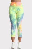 Colour Casual Sportswear Tie Dye Printing High Waist Skinny Trousers