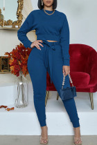Tibetan Blue Fashion Casual Solid With Belt O Neck Long Sleeve Two Pieces