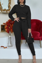 Black Fashion Casual Solid With Belt O Neck Long Sleeve Two Pieces