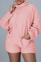 Pink Sexy Solid Split Joint Hooded Collar Jumpsuits