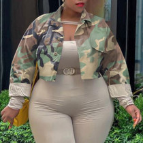 Army Green Casual Print Camouflage Print Split Joint Buckle Turndown Collar Plus Size Overcoat