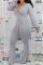 Grey Casual Solid Bandage V Neck Boot Cut Jumpsuits