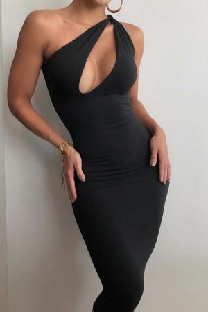 Black Fashion Street Solid Split Joint One Shoulder One Step Skirt Dresses