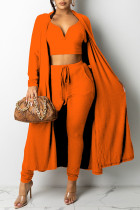 Orange Fashion Sexy Solid Split Joint V Neck Long Sleeve Three Pieces
