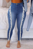 Medium Blue Fashion Street Solid Split Joint Plus Size Jeans